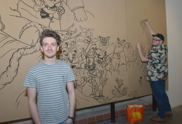 Kristian Jones and Joel Millerchip at the draw wall