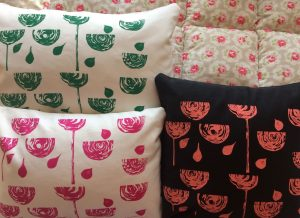 Screen printed cushions Kathyrn Bell