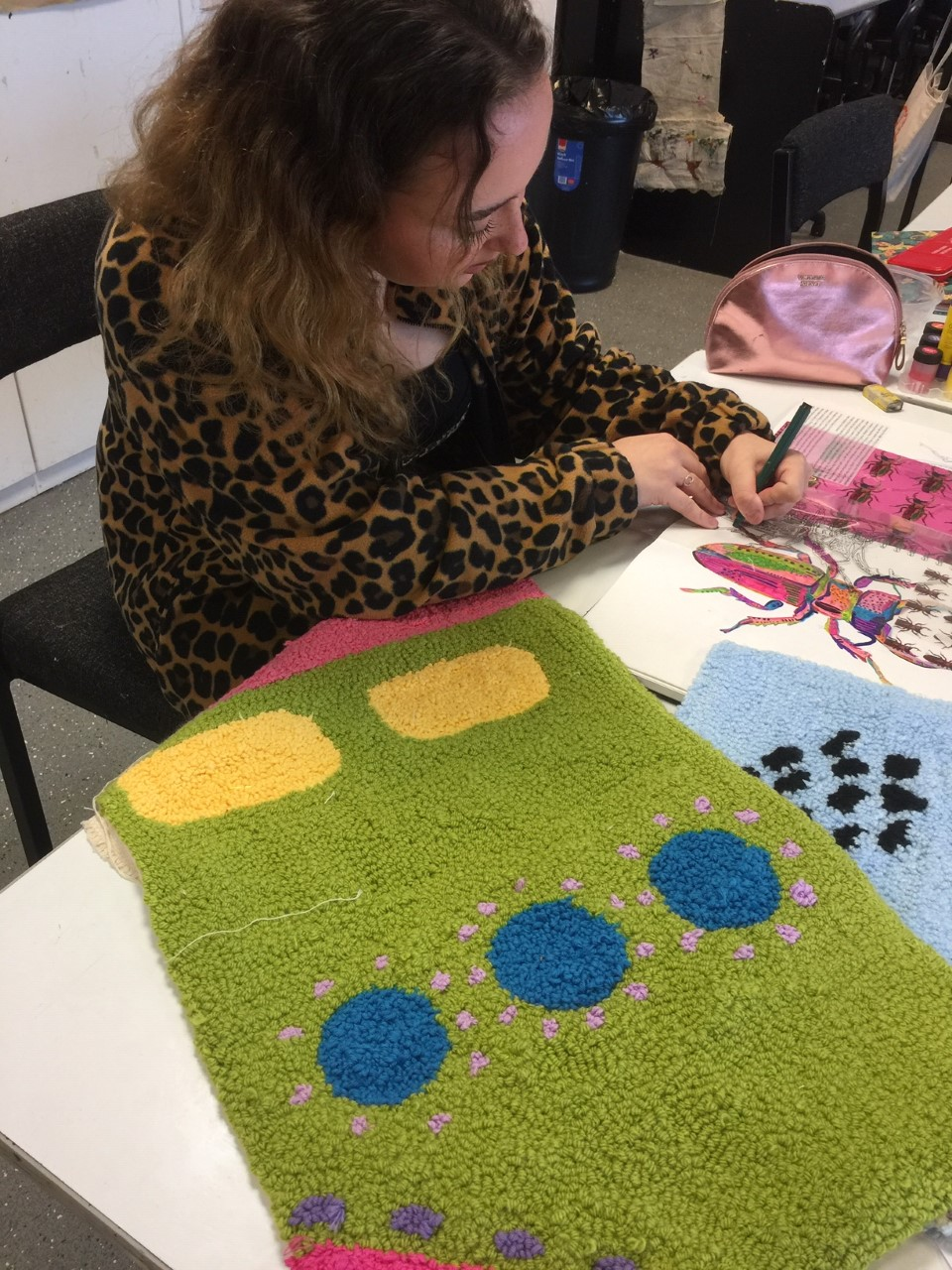 Second year ED Textiles student working in the studio