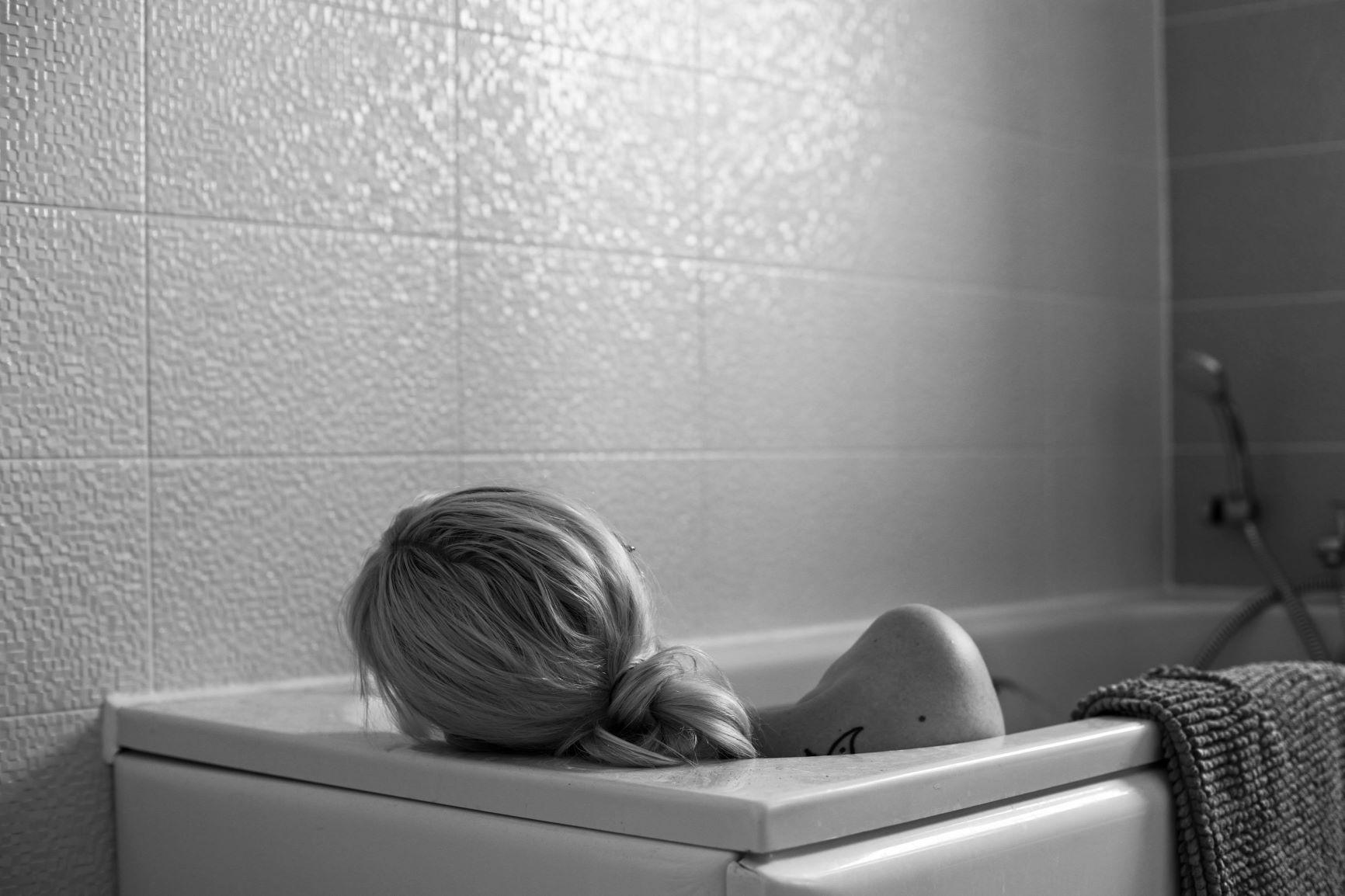 Portrait of Female figure in bath