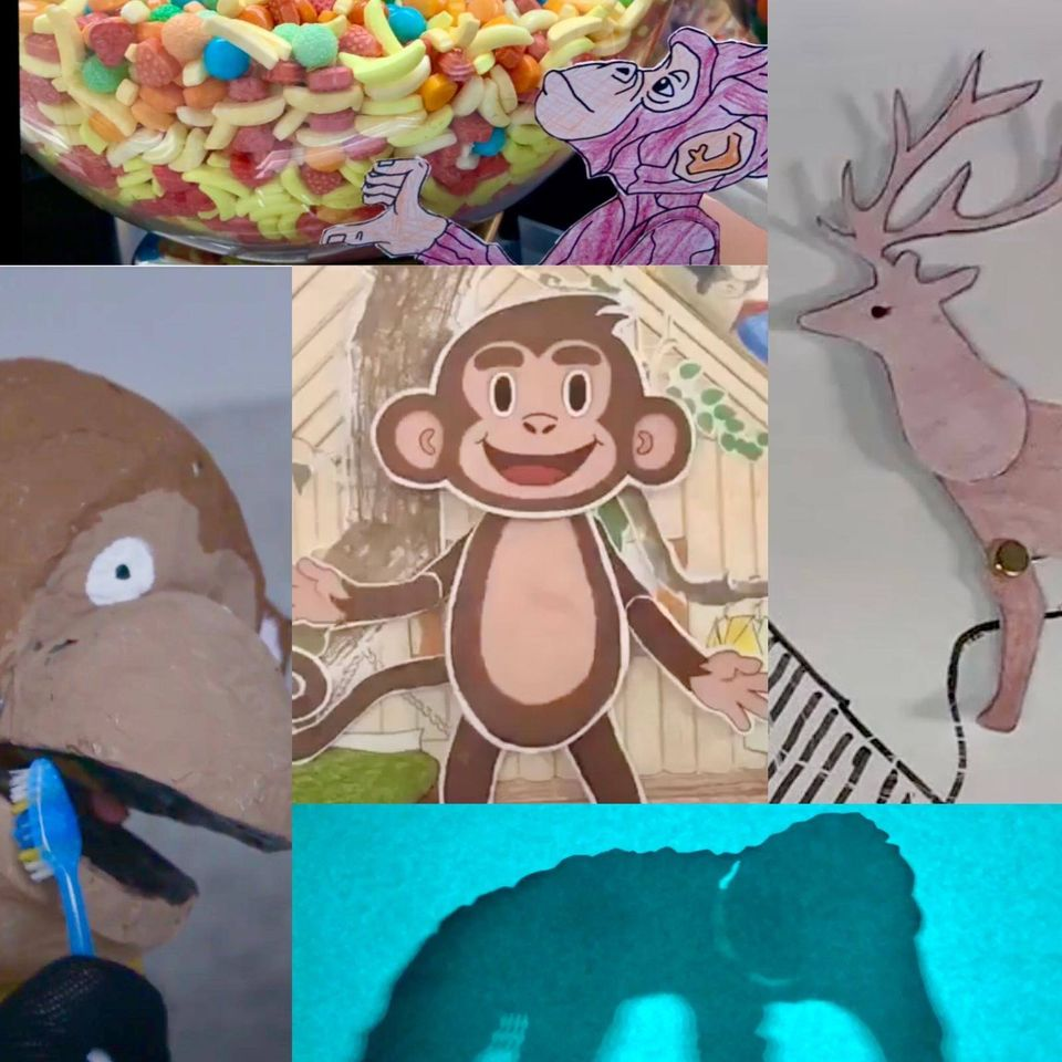 Collage of animation figures